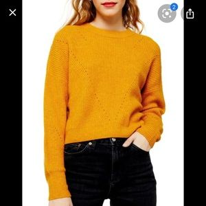 Topshop mustard crop sweater XS